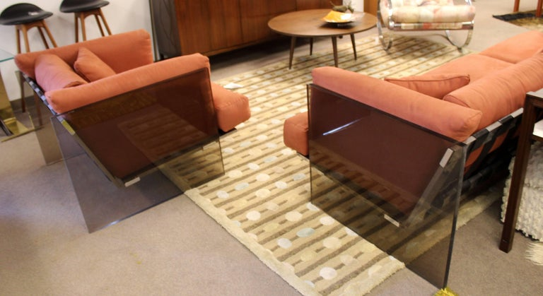Late 20th Century Mid-Century Modern Rare Baughman Smoked Lucite Chrome Sofa Club Chair Set, 1970s For Sale