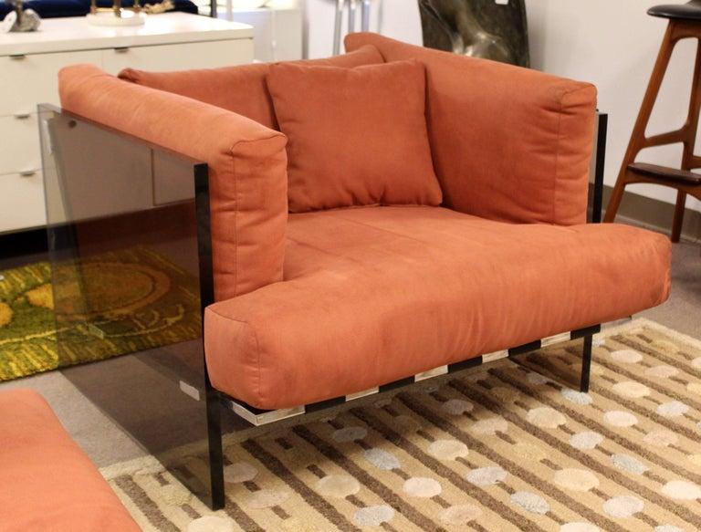 Mid-Century Modern Rare Baughman Smoked Lucite Chrome Sofa Club Chair Set, 1970s For Sale 2
