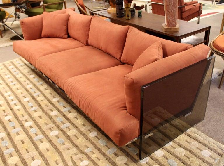 Mid-Century Modern Rare Baughman Smoked Lucite Chrome Sofa Club Chair Set, 1970s For Sale 3