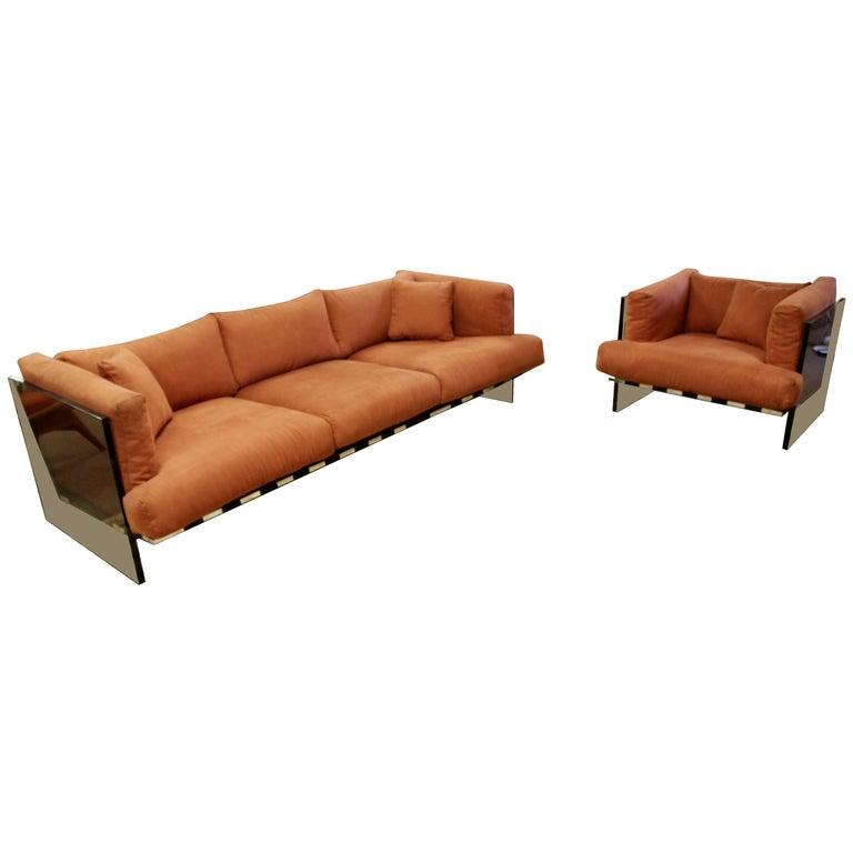 Mid-Century Modern Rare Baughman Smoked Lucite Chrome Sofa Club Chair Set, 1970s For Sale