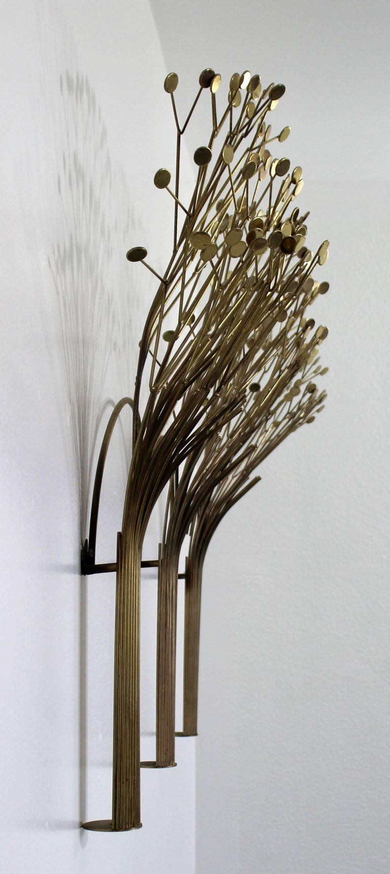 Mid-Century Modern Rare Jere Brass Three Tree Wall Sculpture Signed Dated 1970s In Good Condition For Sale In Keego Harbor, MI