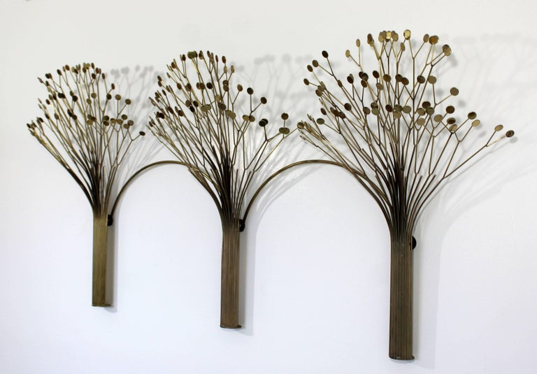 Late 20th Century Mid-Century Modern Rare Jere Brass Three Tree Wall Sculpture Signed Dated 1970s For Sale