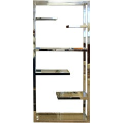 Mid-Century Modern Rare Milo Baughman Chrome & Glass Etagere, Six Shelves, 1970s