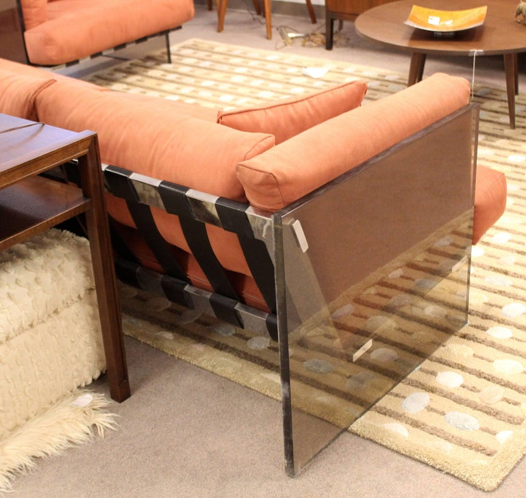 Mid-Century Modern Rare Milo Baughman Smoked Lucite and Chrome Three-Seat Sofa In Good Condition For Sale In Keego Harbor, MI