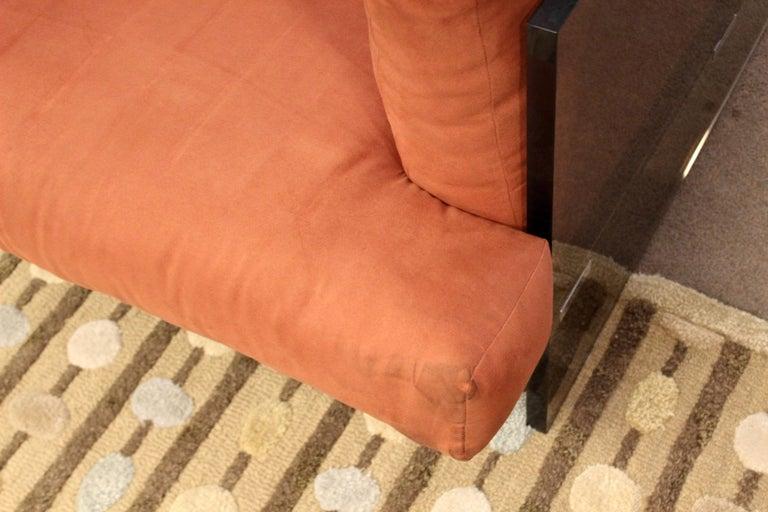 Mid-Century Modern Rare Milo Baughman Smoked Lucite and Chrome Three-Seat Sofa For Sale 1