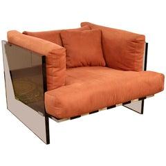 Mid-Century Modern Rare Milo Baughman Smoked Lucite Chrome Club Lounge Chair