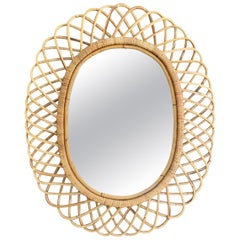 Mid-Century Modern Rattan and Bamboo Oval Mirror, Italy, 1960s