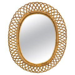 Mid-Century Modern Rattan and Bamboo Oval Wall Mirror, Italy, 1960s