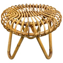 Mid-Century Modern Rattan and Bamboo Stool, Italy, 1960s