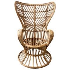 Mid-Century Modern Rattan Armchair Designed by Lio Carminati, circa 1948