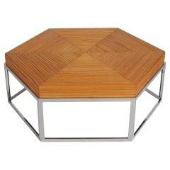 Mid-Century Modern Rattan Bamboo and Chrome Hexagonal Cocktail Table