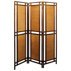 Mid-Century Modern Rattan Cane & Walnut Wood 3 Panel Room Divider Screen 1960s