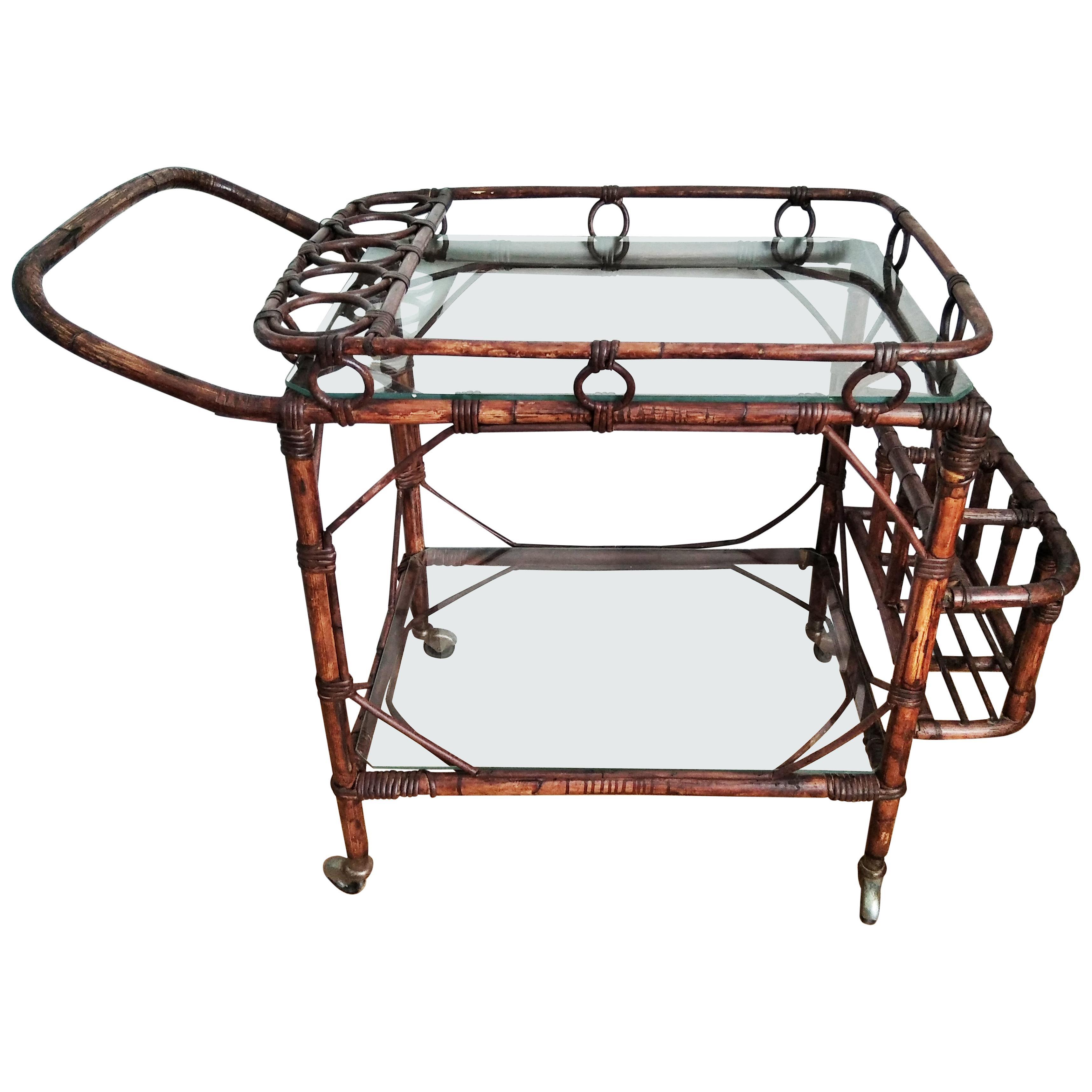 Mid-Century Modern Rattan Cart Bar, 1950s