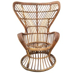 Mid-Century Modern Rattan Chair by Lio Carminati Edited by Bonacina, 1940s