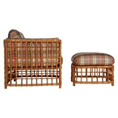 Mid-Century Modern Rattan Cube Lounge Chair with Foot Stool by Willow & Reed
