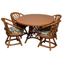 Mid-Century Modern Rattan Dining Set, Table and Four Chairs, 20th Century