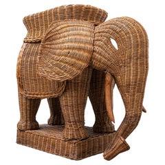 Mid-Century Modern Rattan Elephant, Italy, 1960s