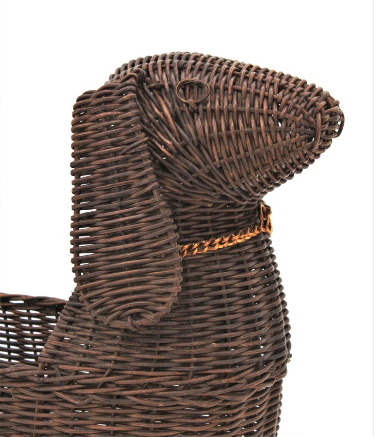 French Mid-Century Modern Rattan Figural Dog Basket / Pet Bed, France, 1960s For Sale