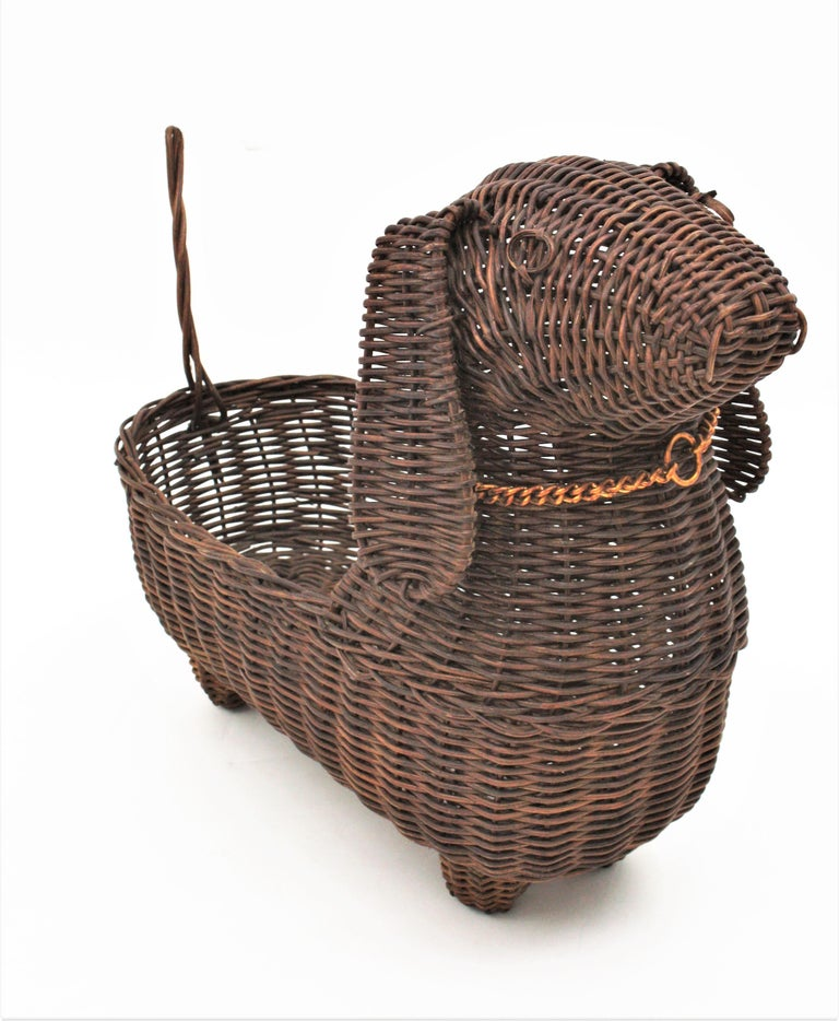 Metal Mid-Century Modern Rattan Figural Dog Basket / Pet Bed, France, 1960s For Sale