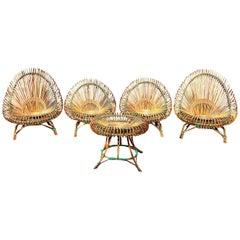 Mid-Century Modern Rattan Garden Furniture by Janine Abraham Dirk Jan Rol, 1950s