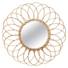 Mid-Century Modern Rattan Handcrafted French Riviera Sunburst Mirror, circa 1960