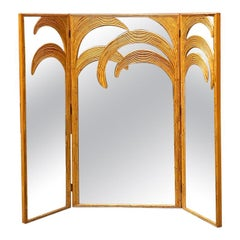 Mid-Century Modern Rattan Mirror with Three Doors by Vivai del Sud, 1970s