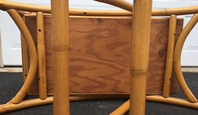 Mid-Century Modern Rattan Pretzel Side End Table Palm Regency Paul Frankl Style For Sale 6
