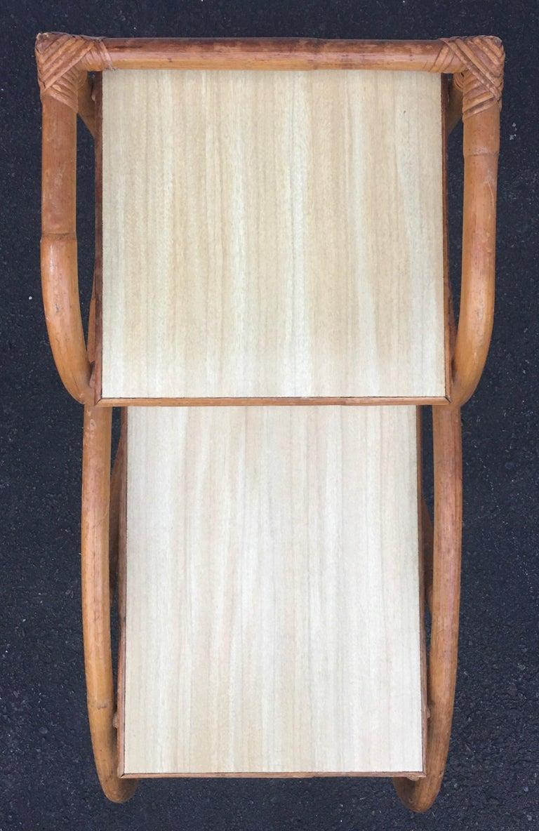 Mid-Century Modern Rattan Pretzel Side End Table Palm Regency Paul Frankl Style For Sale 3