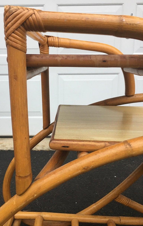 Mid-Century Modern Rattan Pretzel Side End Table Palm Regency Paul Frankl Style For Sale 5