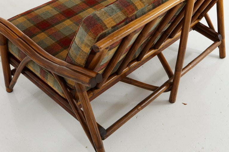Mid-Century Modern Rattan Settee in the Style of John Wisner for Ficks Reed For Sale 4