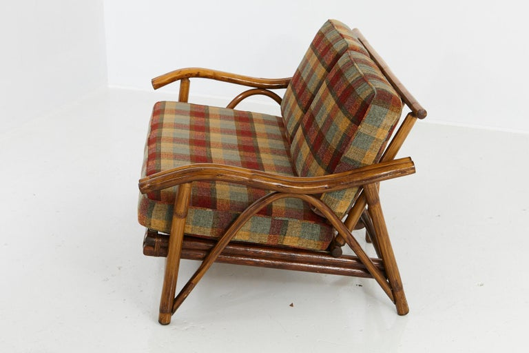 Mid-Century Modern Rattan Settee in the Style of John Wisner for Ficks Reed In Good Condition For Sale In Pau, FR