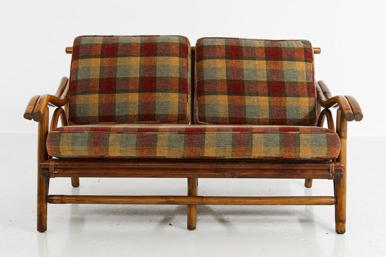 Mid-20th Century Mid-Century Modern Rattan Settee in the Style of John Wisner for Ficks Reed For Sale