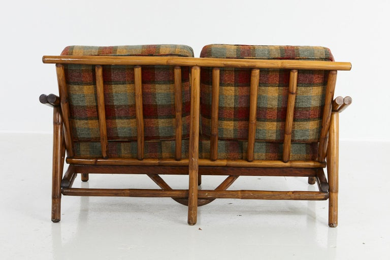 Fabric Mid-Century Modern Rattan Settee in the Style of John Wisner for Ficks Reed For Sale