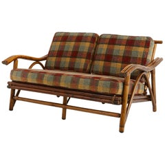 Mid-Century Modern Rattan Settee in the Style of John Wisner for Ficks Reed