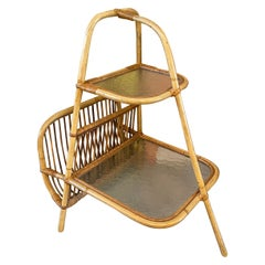 Mid-Century Modern Rattan Side Table with Magazine Holder
