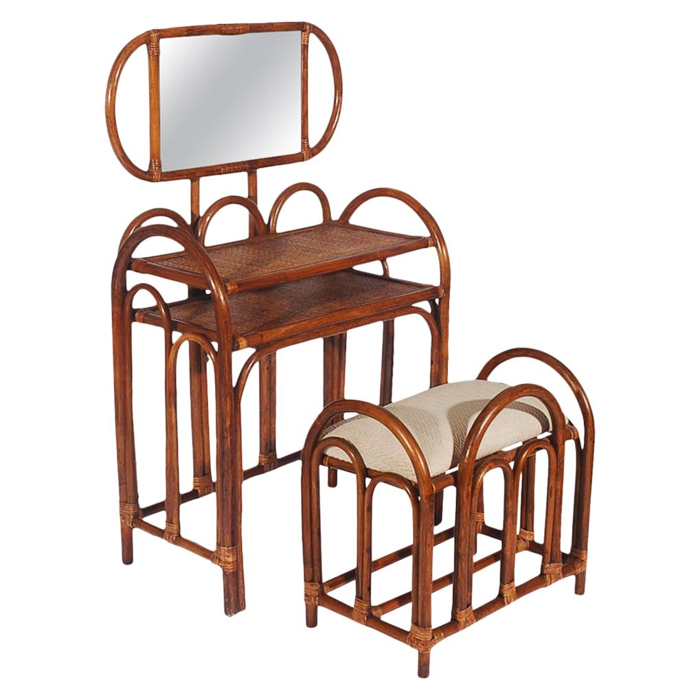 Mid-Century Modern Rattan Vanity Set with Matching Stool in Art Deco Form