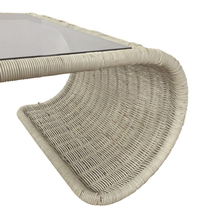 Mid-20th Century Mid-Century Modern Rattan Wicker and Glass Sculptural Waterfall Coffee Table For Sale