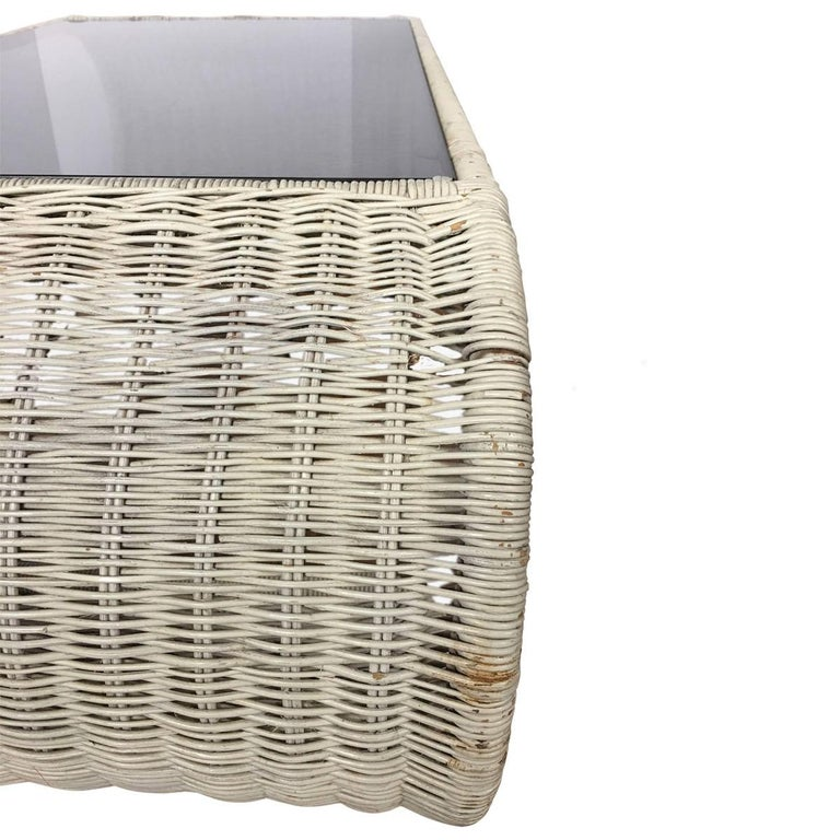 Mid-Century Modern Rattan Wicker and Glass Sculptural Waterfall Coffee Table For Sale 1