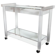 Mid-Century Modern Recilinear Mirrored Lucite Bar Cart by the Lion Frost Company