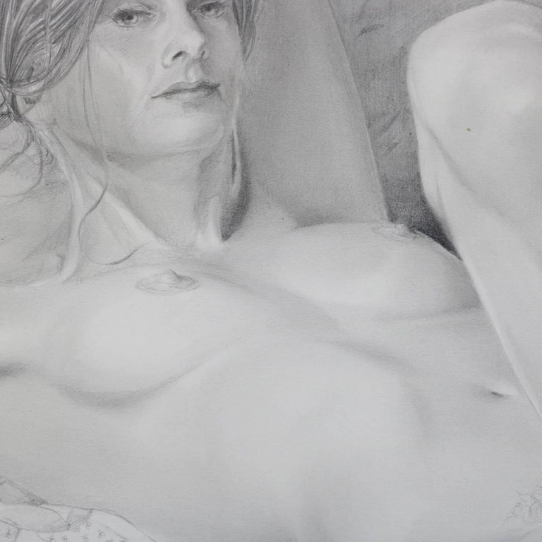Mid-Century Modern Reclining Nude Female Graphite Portrait by David Hanna In Good Condition For Sale In Big Flats, NY