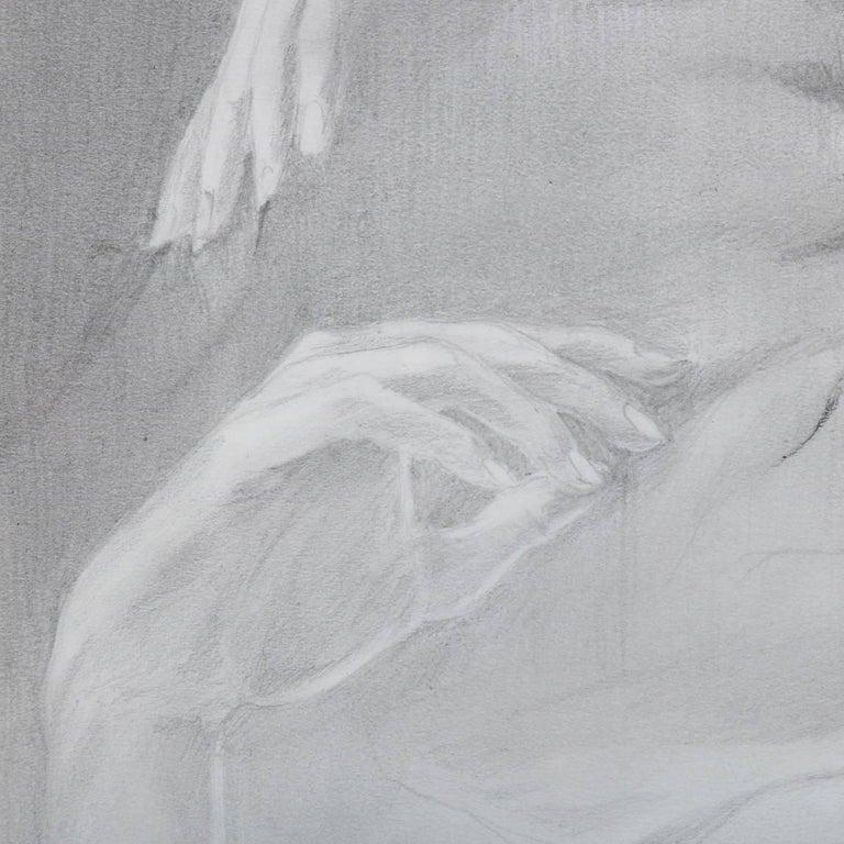 20th Century Mid-Century Modern Reclining Nude Female Graphite Portrait by David Hanna For Sale
