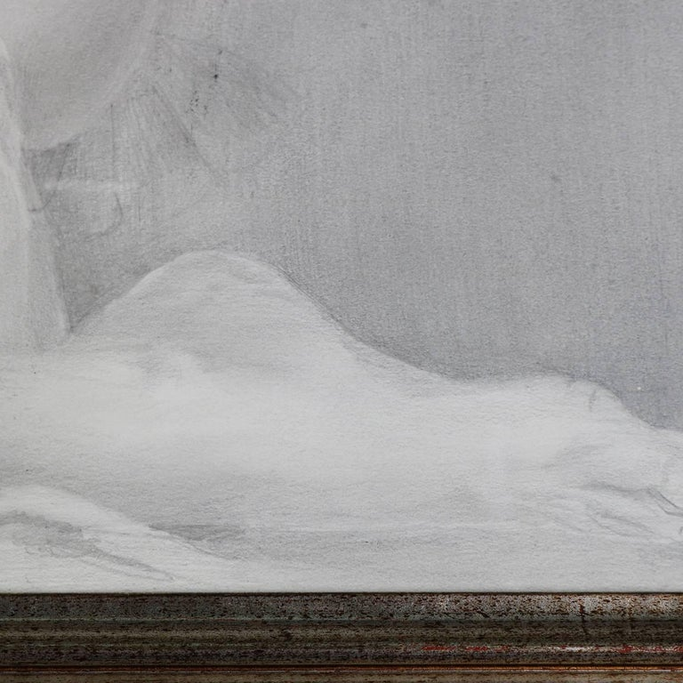 Mid-Century Modern Reclining Nude Female Graphite Portrait by David Hanna For Sale 1