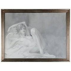 Mid-Century Modern Reclining Nude Female Graphite Portrait by David Hanna