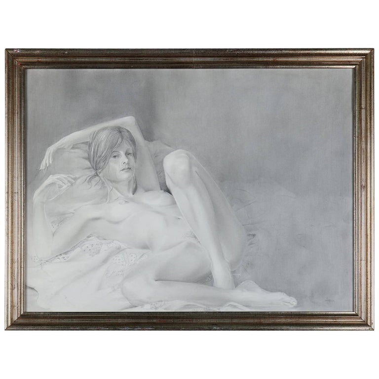 Mid-Century Modern Reclining Nude Female Graphite Portrait by David Hanna For Sale
