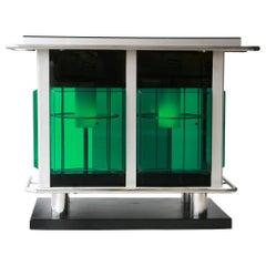 Mid-Century Modern Rectangular Green Perplex Metal Chrome Bar, Italy, 1970