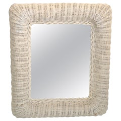 Mid-Century Modern Rectangular Handmade White Finished Wicker & Wood Wall Mirror