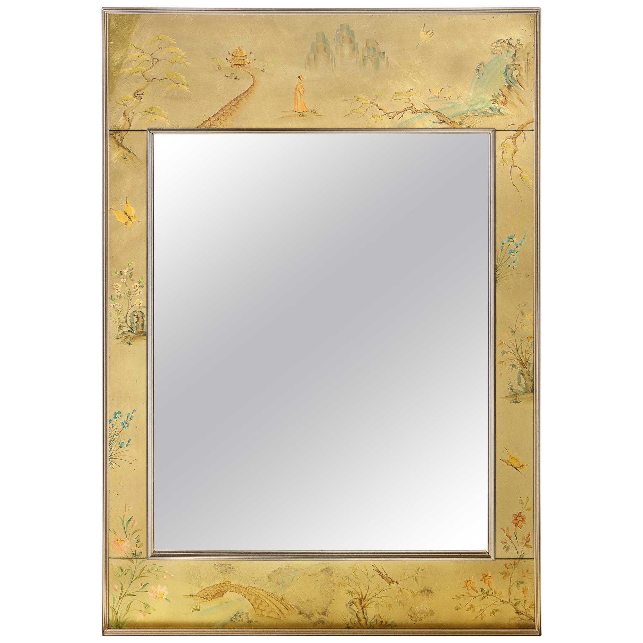 Mid-Century Modern Rectangular La Barge Hand Painted Églomisé Chinoiserie Mirror