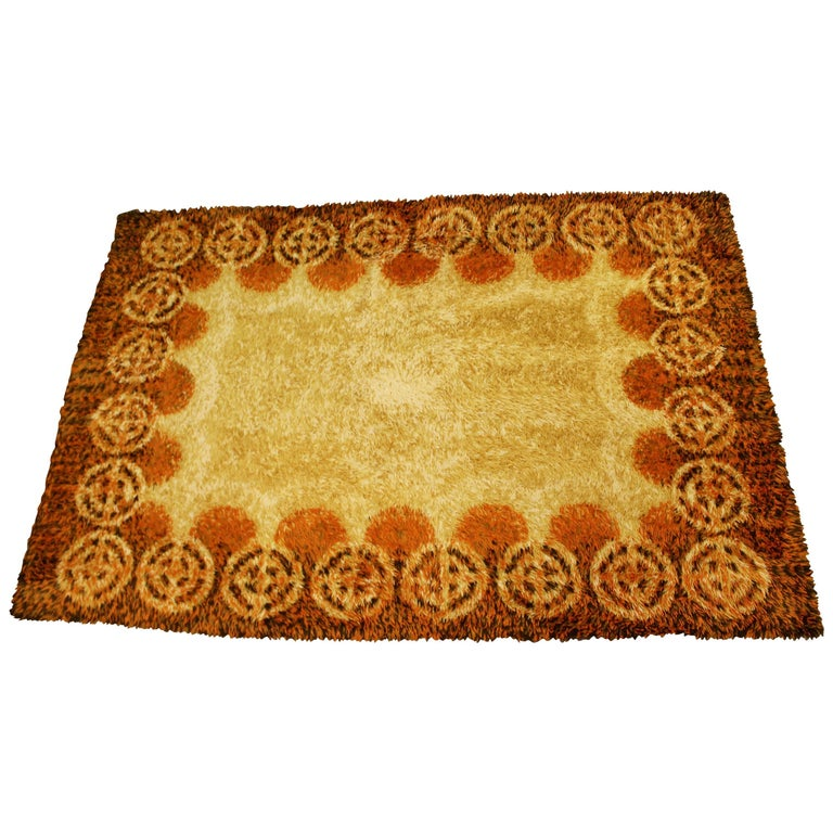 Mid-Century Modern Rectangular Rya Area Rug Carpet Orange 1960s Sunburst Pattern For Sale