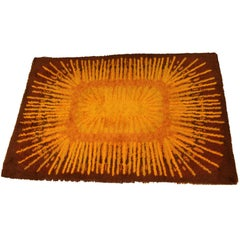 Mid-Century Modern Rectangular Rya Rug Brown Starburst Yellow, 1960s