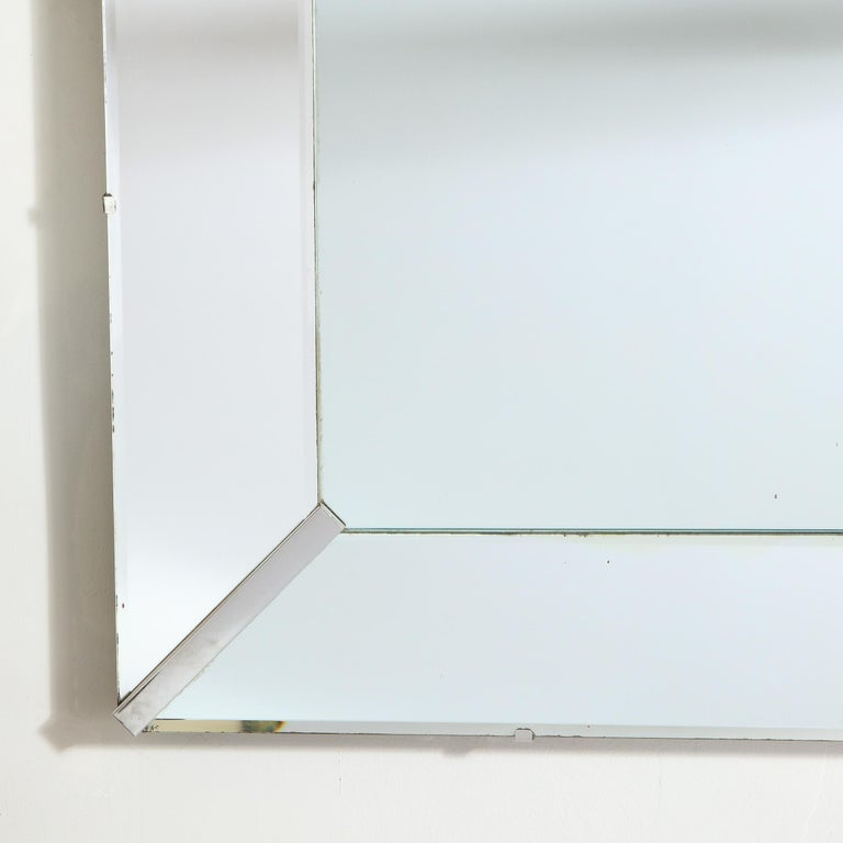 American Mid-Century Modern Rectangular Shadowbox Mirror with Chrome Inserts For Sale